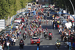 The peloton on the finishing circuit in Madrid during Stage 21 of La Vuelta 2019 running 106.6km from Fuenlabrada to Madrid, Spain. 15th September 2019.<br /> Picture: Luis Angel Gomez/Photogomezsport | Cyclefile<br /> <br /> All photos usage must carry mandatory copyright credit (© Cyclefile | Luis Angel Gomez/Photogomezsport)