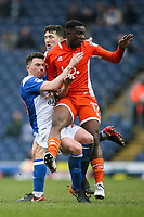Blackpool's Viv Solomon-Otabor competing with Blackburn Rovers' Corry Evans<br /> <br /> Photographer Andrew Kearns/CameraSport<br /> <br /> The EFL Sky Bet League One - Blackburn Rovers v Blackpool - Saturday 10th March 2018 - Ewood Park - Blackburn<br /> <br /> World Copyright &copy; 2018 CameraSport. All rights reserved. 43 Linden Ave. Countesthorpe. Leicester. England. LE8 5PG - Tel: +44 (0) 116 277 4147 - admin@camerasport.com - www.camerasport.com