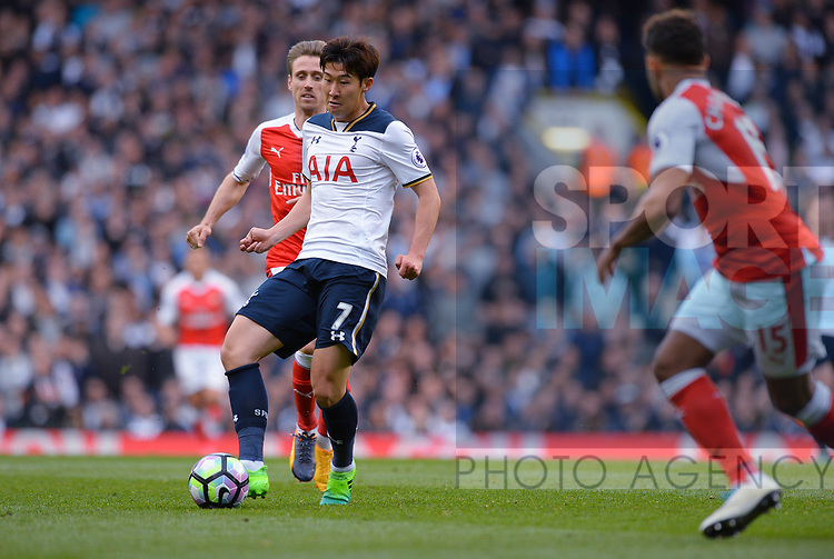 Heung Min Son of Tottenham Hotspur during the English Premier League match at the White Hart Lane Stadium, London. Picture date: April 30th, 2017.Pic credit should read: Robin Parker/Sportimage