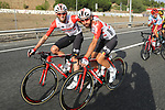 Team mates Thomas De Gendt and Tosh Van Der Sande (BEL) Lotto-Soudal all smiles during Stage 21 of La Vuelta 2019 running 106.6km from Fuenlabrada to Madrid, Spain. 15th September 2019.<br /> Picture: Luis Angel Gomez/Photogomezsport | Cyclefile<br /> <br /> All photos usage must carry mandatory copyright credit (© Cyclefile | Luis Angel Gomez/Photogomezsport)