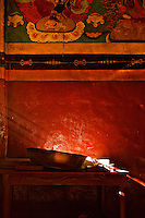 Inside the temple in Marpha.  ..Town of Marpha, Nepal, Annapurna Circuit.  Altitude: 2.670 mts.