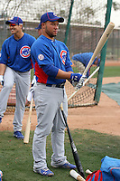 Welington Castillo #53 of the Chicago Cubs takes batting practice during spring training workouts at the Cubs complex on February 19, 2011  in Mesa, Arizona. .Photo by Bill Mitchell / Four Seam Images.