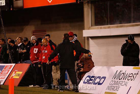 Salt Lake City - Utah vs. BYU college football Saturday, November 22, 2008 at Rice-Eccles Stadium. ; 11.22.2008 Mike Terry, guy patrolling sidelines