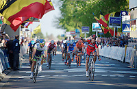 Philippe Gilbert (BEL/BMC) beats Michael Matthews (AUS/Orica-GreenEDGE) on the finish line<br /> <br /> Brabantse Pijl 2014