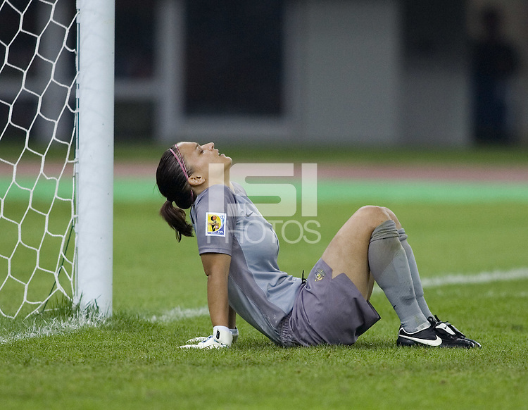 Australia goalkeeper (1) Melissa Barbieri reacts to giving up a goal. Brazil defeated Australia, 3-2 during the quarterfinals of the FIFA Women's World Cup at Tianjin Olympic Center Stadium in Tianjin, China on September 23, 2007.
