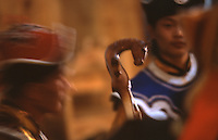 24 JUN 2002 - KHOVSGOL NATIONAL PARK, MONGOLIA - A Mongolian plays a morinkhuur. (PHOTO (C) NIGEL FARROW)