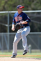 Minnesota Twins pitcher B.J. Hermsen #63 delivers a pitch during a minor league spring training game against the Baltimore Orioles at the Buck O'Neil Complex on March 19, 2012 in Sarasota, Florida.  (Mike Janes/Four Seam Images)