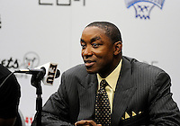 Florida International University Head Basketball Coach Isiah Thomas with NBA players Dwyane Wade, LeBron James, and Chris Bosh at a pre-game press conference at the South Florida All Star Classic held at FIU's U.S. Century Bank Arena, Miami, Florida. .