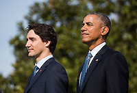 U.S. President Barack Obama (L) welcomes Prime Minister of Canada Justin Trudeau (R) at an arrival ceremony on the South Lawn of the White House, in Washington, DC, USA, 10 March 2016. This is the first official visit of Prime Minister of Canada Justin Trudeau to the White House. Photo Credit: Jim LoScalzo/CNP/AdMedia
