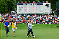 Louis Oosthuizen (RSA) and Grayson Murray (USA) depart the 18th green during Sunday's final round of the PGA Championship at the Quail Hollow Club in Charlotte, North Carolina. 8/13/2017.<br /> Picture: Golffile | Ken Murray<br /> <br /> <br /> All photo usage must carry mandatory copyright credit (&copy; Golffile | Ken Murray)