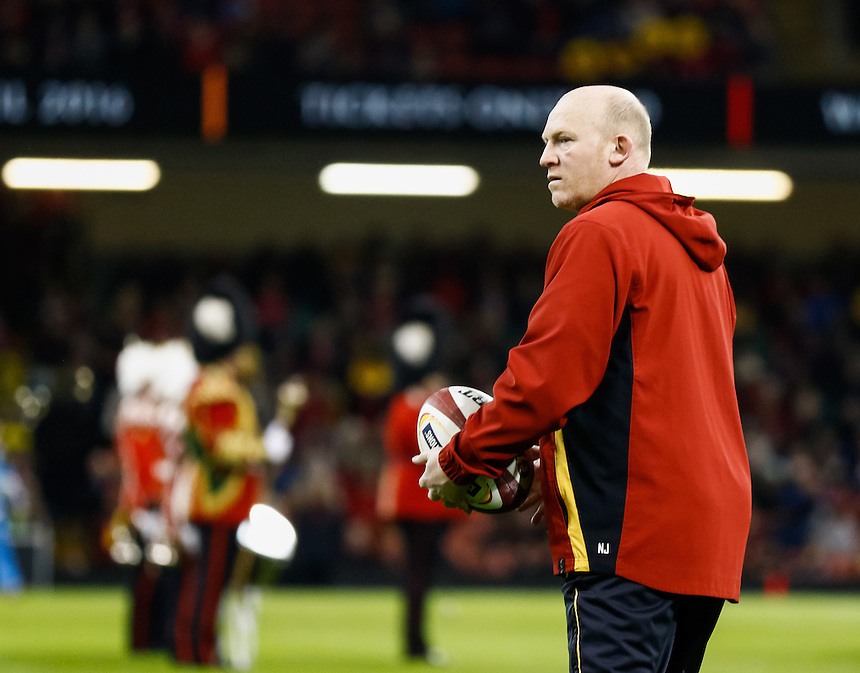 Wales coach Neil Jenkins during the pre match warm up<br /> <br /> Photographer Simon King/CameraSport<br /> <br /> International Rugby Union - RBS 6 Nations Championships 2016 - Wales v Italy - Saturday 19th March 2016 - Principality Stadium, Cardiff <br /> <br /> &copy; CameraSport - 43 Linden Ave. Countesthorpe. Leicester. England. LE8 5PG - Tel: +44 (0) 116 277 4147 - admin@camerasport.com - www.camerasport.com