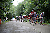 Bart De Clercq (BEL/Lotto-Soudal) leading up the steepest hill on the course (12%)<br /> <br /> Belgian National Road Cycling Championships 2016<br /> Les Lacs de l'Eau d'Heure