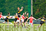 Dr Crokes rises highest to claim the kickout against Rathmore during their County Championship clash in Rathmore Sunday evening