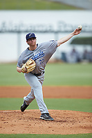 Pensacola Blue Wahoos starting pitcher Charlie Barnes (23) delivers a pitch to the plate against the Birmingham Barons at Regions Field on July 7, 2019 in Birmingham, Alabama. The Barons defeated the Blue Wahoos 6-5 in 10 innings. (Brian Westerholt/Four Seam Images)