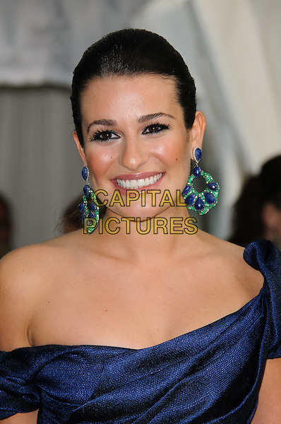 Lea Michele.Women Of The Year 2012 - Glamour Awards, Berkeley Square, London, England..29th May 2012.headshot portrait blue off the shoulder  green purple dangling earrings smiling .CAP/CJ.©Chris Joseph/Capital Pictures.