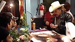 December 12th 2012    Exclusive    4am <br /> <br /> Pedro Rivera the father of the singer Jenni Rivera who just died in a plane crash was selling posters of his daughter at a street party located on Olvera Street in Los Angeles <br /> Pedro was also autographing the posters. Pedro was smiling &amp; laughing &amp; didn't seem to be mourning the death of his daughter. The event was for celebration of the Virgin Mary.  People were playing music and going to church. The party takes place all night until about 8am. <br /> <br /> AbilityFilms@yahoo.com<br /> 805-427-3519<br /> www.AbilityFilms.com