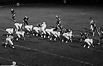 Bethel Park PA:  Offensive play with the Blackhawks lining up for a play against the Wash High Prexies - 1970. Others in the photo; Mike Stewart 11, Clark Miller 30, Chip Huggins 32, John Bender 27, Bruce Evanovich 80, Dennis Franks 66, Joe Barrett 75, Don Troup, 51, Dan Hannigan 64, Bob Hensler 77 Gary Biro 81.  Bethel unvieled their new uniforms against Washington and ended up destroying the Prexies (42-12).  Two touchdowns each by Chip Huggins, Clark Miller and Mike Stewart was the largest offensive output of the season.