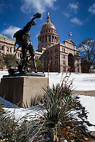 First time snow blizzard covers the the Texas State Capitol grounds shutting down the Texas State Goverment Offices.