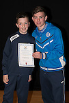 St Johnstone FC Academy Awards Night...06.04.15  Perth Concert Hall<br /> Craig Thomson presents a certificate to Craig Doctor<br /> Picture by Graeme Hart.<br /> Copyright Perthshire Picture Agency<br /> Tel: 01738 623350  Mobile: 07990 594431
