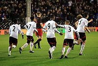 Fulham players run back to the halfway line after Moussa Dembele scores their equalising goal to bring the scores level at 2-2
