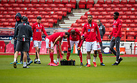 7th July 2020; City Ground, Nottinghamshire, Midlands, England; English Championship Football, Nottingham Forest versus Fulham; Forest players warm up in an empty stadium prior to the match