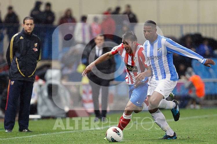 Atletico de Madrid's Eduardo Salvio and Malaga's Jose Salomon Rondon (r) during La Liga match. Mayo 5,2012. (ALTERPHOTOS/Arnedo & Alconada)