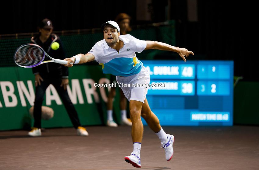 Rotterdam, The Netherlands, 11 Februari 2020, ABNAMRO World Tennis Tournament, Ahoy, <br /> Alexander Bublik (KAZ), Gregoire Barrere (FRA).<br /> Photo: www.tennisimages.com