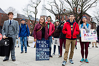 People gather for the March for Science demonstration in Harvard University's Science Center Plaza in Cambridge, Massachusetts, on Sat., April 22, 2017.