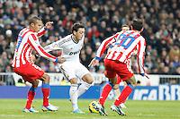 Miranda, Mesut Özil and Juanfran Torres during La Liga Match. December 02, 2012. (ALTERPHOTOS/Caro Marin)