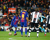 7th January 2018, Camp Nou, Barcelona, Spain; La Liga football, Barcelona versus Levante; Dembele from FC Barcelona gets his shot on goal from the top of the box
