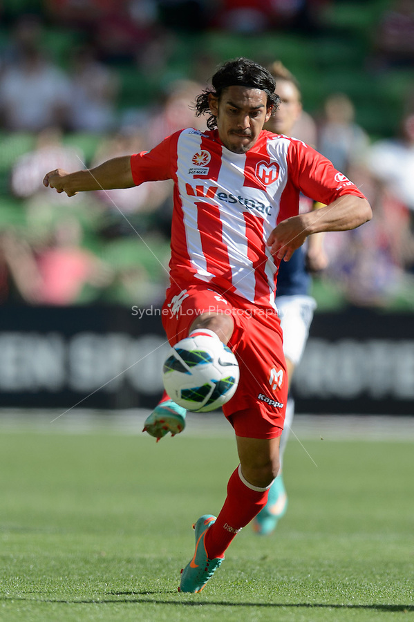 MELBOURNE - OCT 28: David WILLIAMS of the Heart kicks the ball in the round four A-League match between the Melbourne Heart and the Central Coast Mariners at AAMI Park. (Photo Sydney Low/syd-low.com/Melbourne Heart)