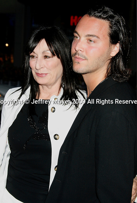 "HOLLYWOOD, CA. - April 28: Anjelica Huston and nephew Jack Huston arrive at ""X-Men Origins: Wolverine"" Los Angeles Industry Screening at Grauman's Chinese Theatre on April 28, 2009 in Los Angeles, California."