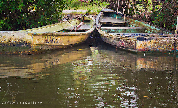 Old wooden boats on river at Caroni, Trinidad