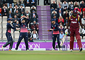 29th September 2017, Ageas Bowl, Southampton, England; One Day International Series, England versus West Indies; Joe Root of England reacts after a ball from Jake Ball comes off the pads of West Indies Chris Gayle