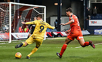 Fleetwood Town's Ched Evans crosses under pressure from Luton Town's Matty Pearson<br /> <br /> Photographer Andrew Kearns/CameraSport<br /> <br /> The EFL Sky Bet League One - Luton Town v Fleetwood Town - Saturday 8th December 2018 - Kenilworth Road - Luton<br /> <br /> World Copyright &copy; 2018 CameraSport. All rights reserved. 43 Linden Ave. Countesthorpe. Leicester. England. LE8 5PG - Tel: +44 (0) 116 277 4147 - admin@camerasport.com - www.camerasport.com