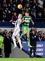 James McClean of West Bromwich Albion and Jack Cork of Swansea City during the Barclays Premier League match between West Bromwich Albion and Swansea City at The Hawthorns on the 2nd of February 2016