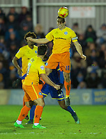 Matt Bloomfield of Wycombe Wanderers wins the header during the Sky Bet League 2 match between AFC Wimbledon and Wycombe Wanderers at the Cherry Red Records Stadium, Kingston, England on 21 November 2015. Photo by Alan  Stanford/PRiME.