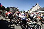 The peloton including Dan Martin (IRL) UAE Team Emirates fly by during Stage 6 of the 2018 Tour de France running 181km from Brest to Mur-de-Bretagne Guerledan, France. 12th July 2018. <br /> Picture: ASO/Bruno Bade | Cyclefile<br /> All photos usage must carry mandatory copyright credit (&copy; Cyclefile | ASO/Bruno Bade)