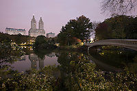 View of Bow Bridge in New York City's Central Park at Dawn.
