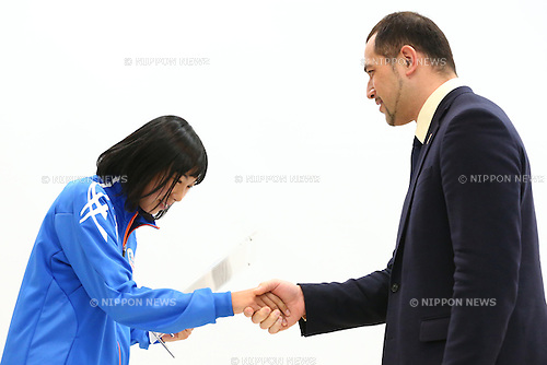 (L-R)<br /> Nana Fujimori,<br /> Koji Murofushi,<br /> JANUARY 9, 2015 - Athletic : <br /> Certification ceremony of Diamond athletes is held at Ajinomoto National Training Center, Tokyo, Japan.<br /> Diamond athletes is players who would play an active part in Tokyo Olympic 2020.<br /> (Photo by Shingo Ito/AFLO SPORT) [1195]