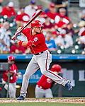 24 February 2019: Washington Nationals top prospect infielder Carter Kieboom at bat during a Spring Training game against the St. Louis Cardinals at Roger Dean Stadium in Jupiter, Florida. The Nationals defeated the Cardinals 12-2 in Grapefruit League play. Mandatory Credit: Ed Wolfstein Photo *** RAW (NEF) Image File Available ***