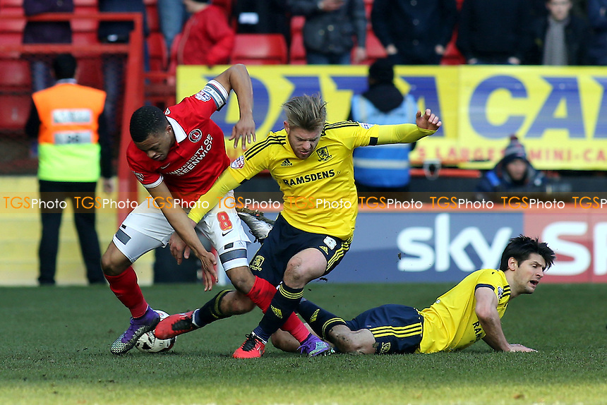 Adam Clayton of Middlesbrough in a tussle with Charlton's Jordan Cousins during Charlton Athletic vs Middlesbrough, Sky Bet Championship Football at The Valley on 13th March 2016