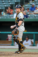 Bowling Green Hot Rods catcher Justin O'Conner (10) during a game against the South Bend Silver Hawks on August 20, 2013 at Stanley Coveleski Stadium in South Bend, Indiana.  Bowling Green defeated South Bend 3-2.  (Mike Janes/Four Seam Images)