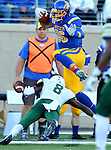 BROOKINGS, SD - SEPTEMBER 17: Dallas Goedert #86 from South Dakota State University tries to leap over Kitu Humphrey #8 from Cal Poly in the first half of their game Saturday night at the Dana J. Dykhouse Stadium in Brookings. (Photo by Dave Eggen/Inertia)