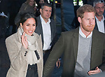 09.01.2018; London, England: MEGHAN MARKLE AND PRINCE HARRY VISIT BRIXTON<br />The newly engaged royal couple visited Reprezent 107.3FM in Brixton, to see their work supporting young people through creative training in radio and broadcasting, and to learn more about their model of using music, radio and media for social impact.<br />This is Meghan and Harry&rsquo;s first official visit in the capital.<br />They are to be married on 19th May 2018 at Windsor Castle.<br />Mandatory Photo Credit: &copy;Francis Dias/NEWSPIX INTERNATIONAL<br /><br />IMMEDIATE CONFIRMATION OF USAGE REQUIRED:<br />Newspix International, 31 Chinnery Hill, Bishop's Stortford, ENGLAND CM23 3PS<br />Tel:+441279 324672  ; Fax: +441279656877<br />Mobile:  07775681153<br />e-mail: info@newspixinternational.co.uk<br />Usage Implies Acceptance of Our Terms &amp; Conditions<br />Please refer to usage terms. All Fees Payable To Newspix International