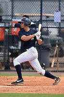 GCL Yankees 1 outfielder Dominic Jose (93) at bat during the second game of a doubleheader against the GCL Braves on July 1, 2014 at the Yankees Minor League Complex in Tampa, Florida.  GCL Braves defeated the GCL Yankees 1 by a score of 3-1.  (Mike Janes/Four Seam Images)