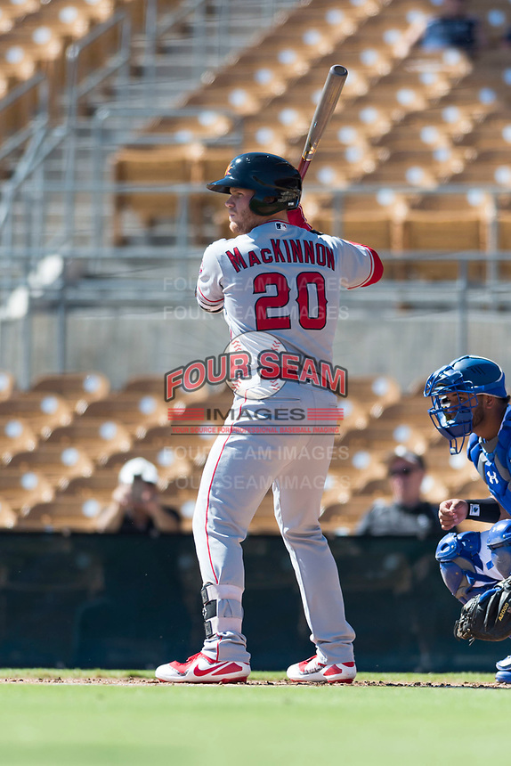 Mesa Solar Sox first baseman David MacKinnon (20), of the Los Angeles Angels organization, at bat during an Arizona Fall League game against the Glendale Desert Dogs at Camelback Ranch on October 15, 2018 in Glendale, Arizona. Mesa defeated Glendale 8-0. (Zachary Lucy/Four Seam Images)