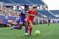Orlando, FL - Sunday June 26, 2016: Jasmyne Spencer, Meghan Klingenberg  during a regular season National Women's Soccer League (NWSL) match between the Orlando Pride and the Portland Thorns FC at Camping World Stadium.