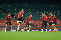 Aaron Ramsey (centre) of Wales in action during the Wales Training Session at The Principality Stadium in Cardiff, Wales, UK. Wednesday 10 October 2018