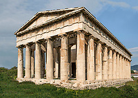 ATHENS, GREECE - APRIL 17 : A general view of the Temple of Hephaestus, on April 17, 2007, in Athens, Greece. The Temple of Hephaestus was built on the Acropolis, between 449 and 415 BC, in the Doric Order. (Photo by Manuel Cohen)